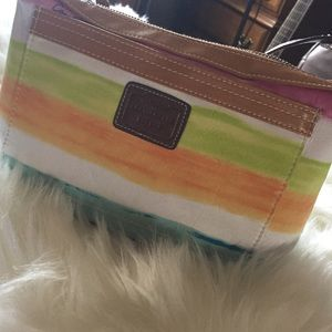 Coach Hampton strip rainbow watercolor handbag
